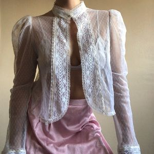 vintage victorian romantic sheer lace cover-up